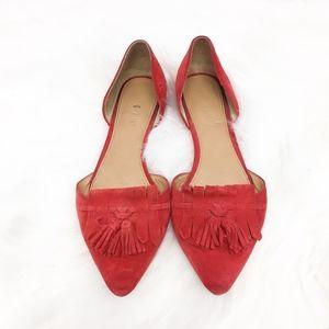 j. crew | red suede d'orsay loafer flats fringe 6
